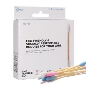 Bamboe wattenstaafjes - blauw/roos 100st